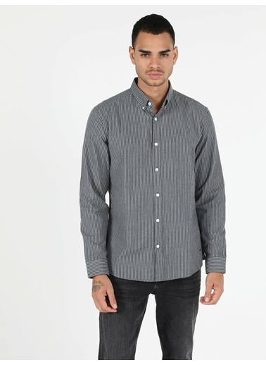 Colin's Slim Fit Shirt Neck Erkek Gri Uzun Kol Gömlek Gri